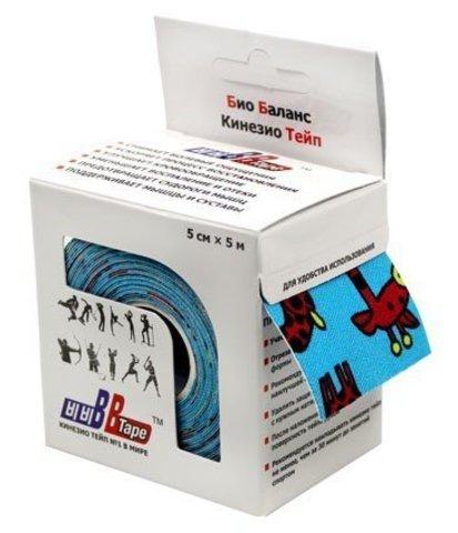 BBtape кинезио тейп 5см х 5м жирафы (голубой)1
