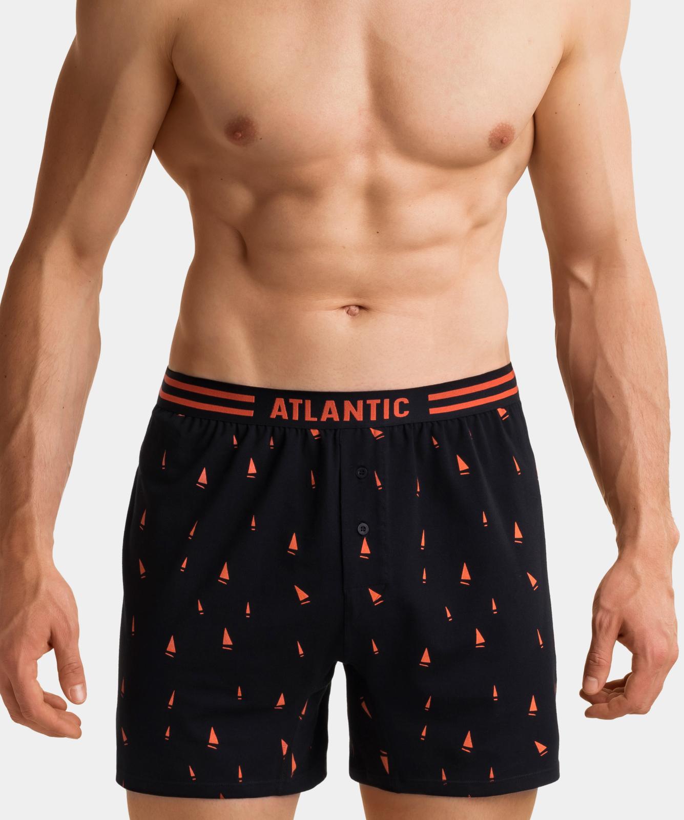 Мужские трусы боксеры Atlantic, набор 2 шт., хлопок, черные, 2MBX-015