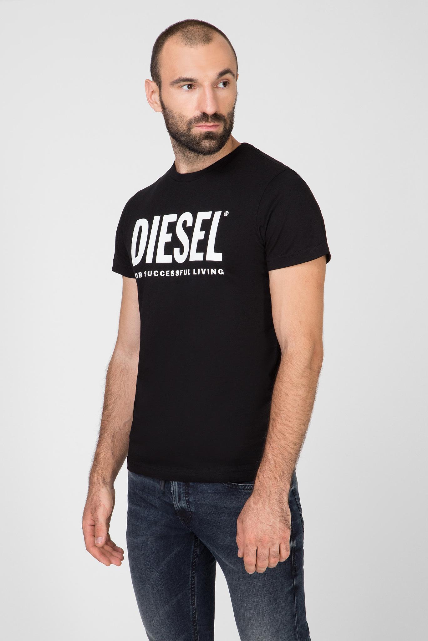 Мужская черная футболка с принтом T-DIEGO-LOGO MAGLIETTA Diesel