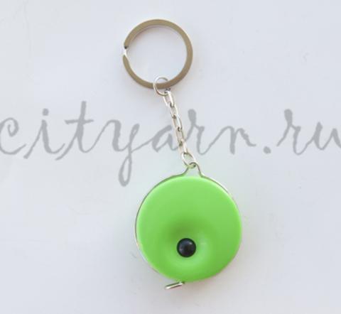 Рулетка-брелок с кнопкой, неоново-зелёная, 140 см
