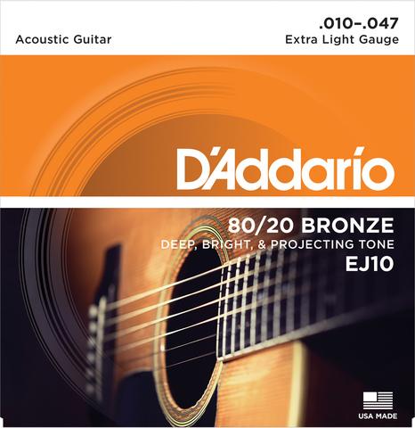 D`ADDARIO EJ10 80/20 BRONZE EXTRA LIGHT 10-47
