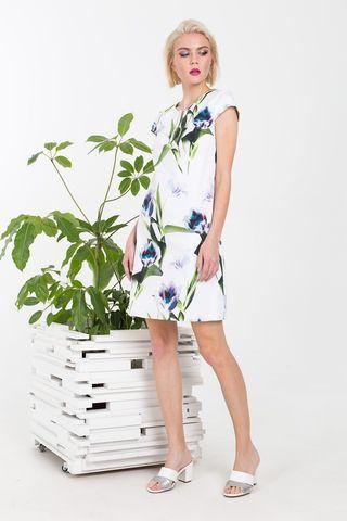 Фото приталенное платье с цветочным принтом - Платье З371-532 (1)