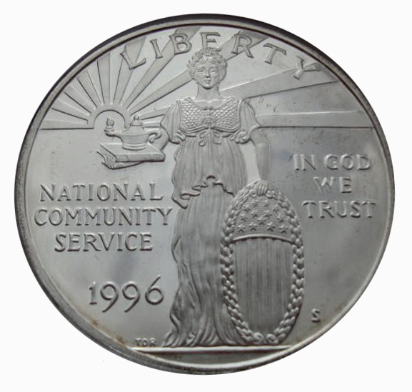 1 доллар 1996 год. Корпорация государственной и муниципальной службы. США  в буклете. Серебро. PROOF