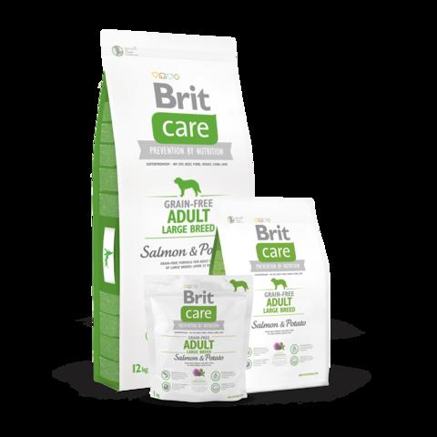 Brit Care GF Adult Large Breed Salmon & Potato Сухой корм для собак крупных пород Лосось с картофелем беззерновой