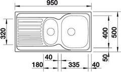 Мойка Blanco Tipo 6S Basic нерж. сталь матовая - схема
