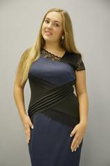 Мадлен. Сукні великих розмірів. Синій.