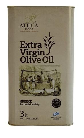 Оливковое масло первого холодного отжима Attica Food 3 л жесть