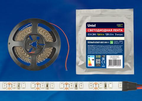 ULS-2835-120LED/m-8mm-IP20-DC24V-9,6W/m-5M-3000K Гибкая светодиодная лента на самоклеящейся основе. Катушка 5 м. в герметичной упаковке. Белый свет (3000K). ТМ Uniel.