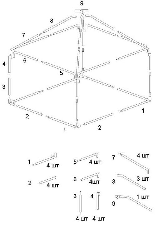 Схема сборки шатра-беседки Митек 3,0 х 3,0 Ø 18 мм