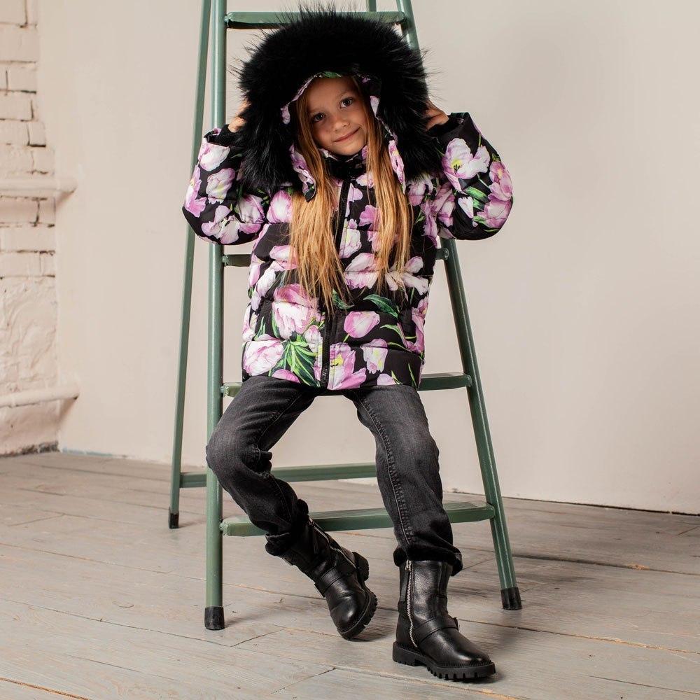 Дитяча зимова куртка з авторським принтом «Тюльпани»