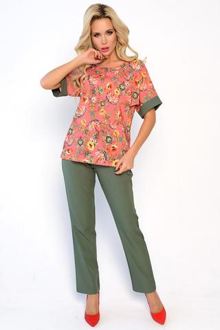 """<p>Ультрамодный брючный костюм на новый весенний сезон. Брюки прямого кроя на резинке. Блузон фасона """"кимоно"""". <span>&nbsp;Длины: ( 46-48р верх изделия - 54см, брюки -106см, 50-52р&nbsp; верх изделия 55см, брюки 106см).</span></p>"""