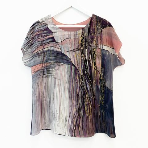 Шелковая блузка батик Пудровый рассвет