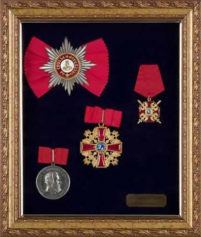 Орденский набор св. Александра Невского в раме (копии)