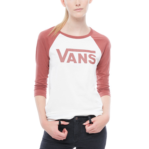 Футболка жен. 3/4 VANS WM FLYING V RAGLAN Marshmallow-Apple Butter
