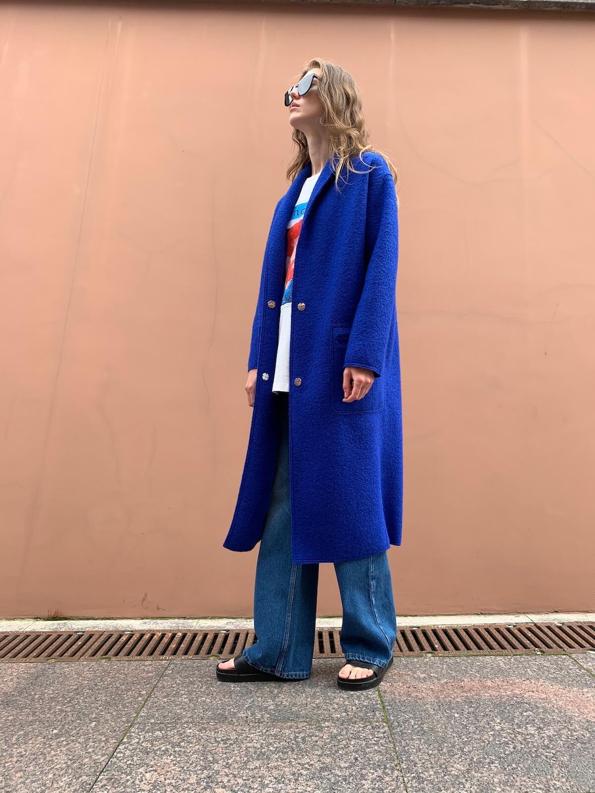 Пальто прямого кроя с накладными карманами и воротником-шалькой, royal-blue