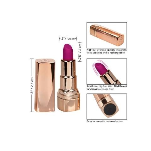 California Hide & Play Lipstick Rechargeable Фиолетовый Перезарежаемый миниатюрный вибромассажер в виде помады