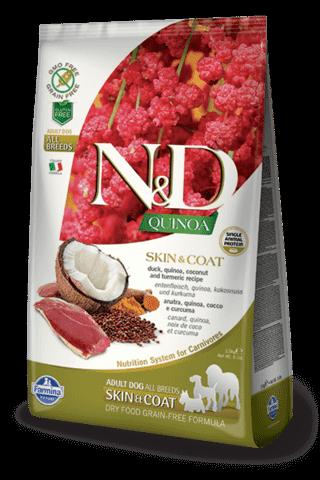 купить Farmina N&D Quinoa Skin & Coat Duck сухой беззерновой корм для собак всех пород, поддержка здоровья кожи и шерсти Утка, киноа, кокос и куркума. Здоровье кожи и шерсти.