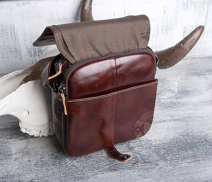 BAG402-2 Мужская городская сумка из натуральной кожи с ремнем на плечо фото 05