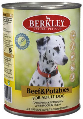 Консервы Berkley Говядина с картофелем для взрослых собак