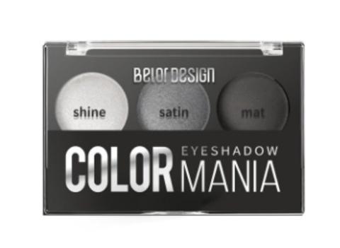 BelorDesign Тени для век COLOR MANIA 3-х цветные тон 031 серый