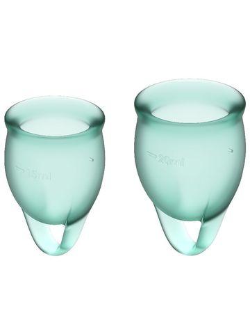Feel confident Menstrual Cup Dark Green Набор менструальных чаш, 2шт, 15 и 20 мл с петелькой