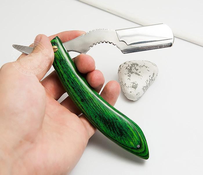 RAZ268-3 Бритва для сменных лезвий с ярко зеленой рукояткой из дерева фото 05