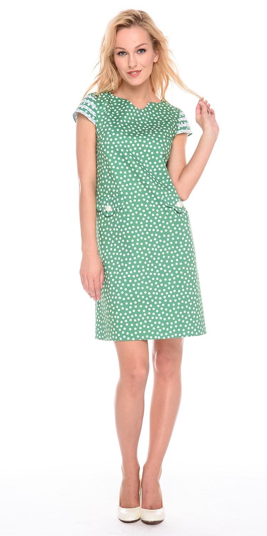 Платье З200а-564 - Ярко-зеленое хлопковое платье в горошек. Романтичное платье прямого силуэта отделано кружевом по рукавам и имеет необычные карманы. Застежка молния позволяет модели сидеть точно по фигуре. Идеальное базовое платье для жаркого лета в городе.