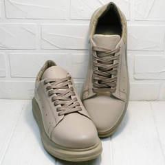 Модные кроссовки туфли спортивные женские Markos 1523 All Beige.