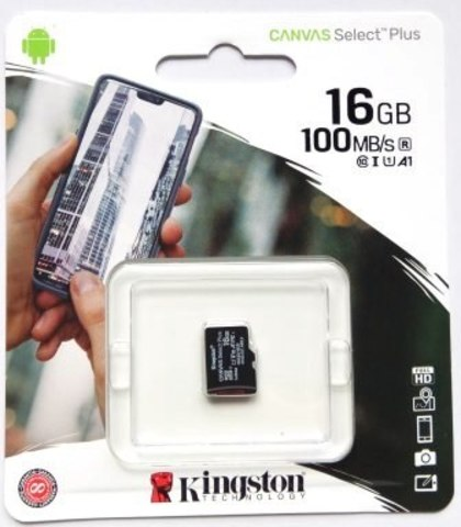 Карта памяти MicroSD  16GB  Kingston Class 10 Canvas Select Plus A1 (100 Mb/s)