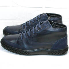 Термо обувь. Теплые кеды ботинки кожаные мужские Luciano Bellini BC2802 L Blue.