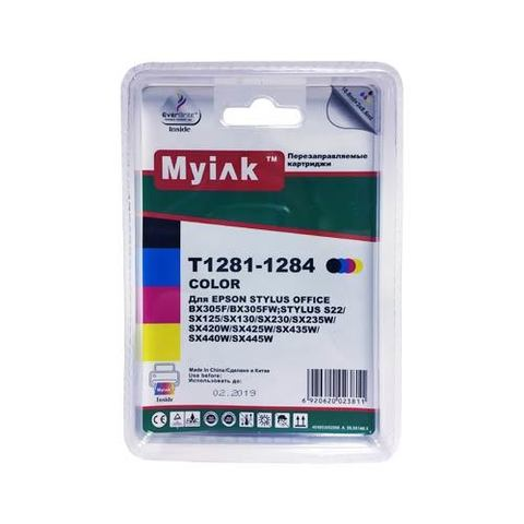 Картриджи ПЗК T1281-1284 MyInk заправленные для Epson St S22, SX120, SX125, SX130 автосброс, 4 шт SAL