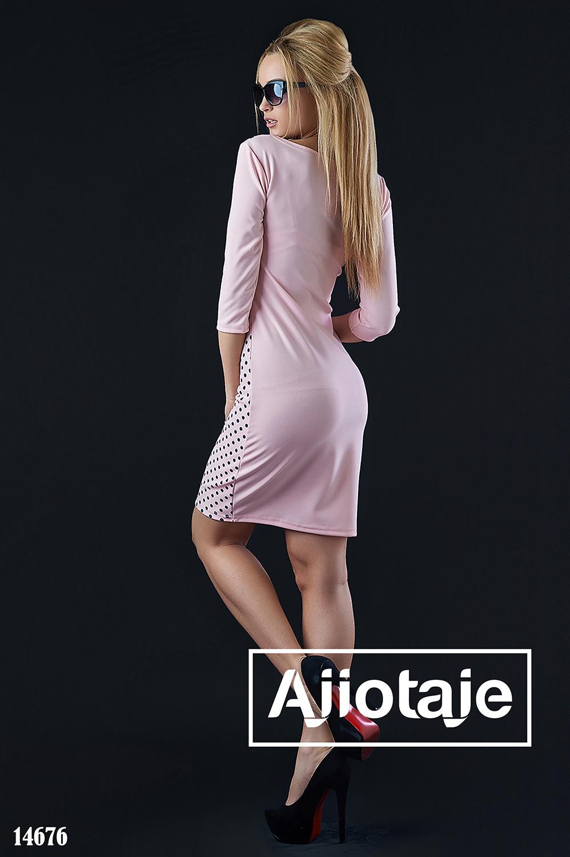 Весеннее платье цвета пудра в принт полька