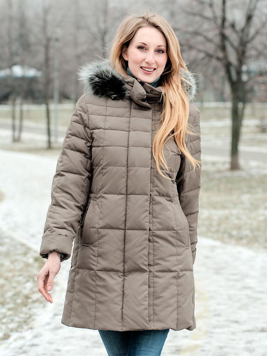 Joutsen пуховик Bea Fur олива - Фото 1