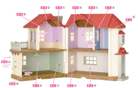 Комплект: кукольный домик Sylvanian families 2752 со светом и обоями