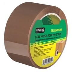Скотч клейкая лента упаковочная Attache Selection коричневая 50 мм x 66 м толщина 48 мкм (бесшумная)