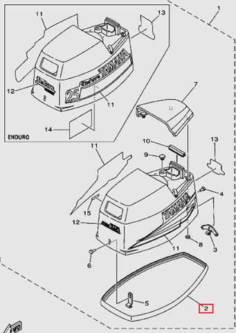 Уплотнитель капота резиновый для лодочного мотора Т30 Sea-PRO (1-2)