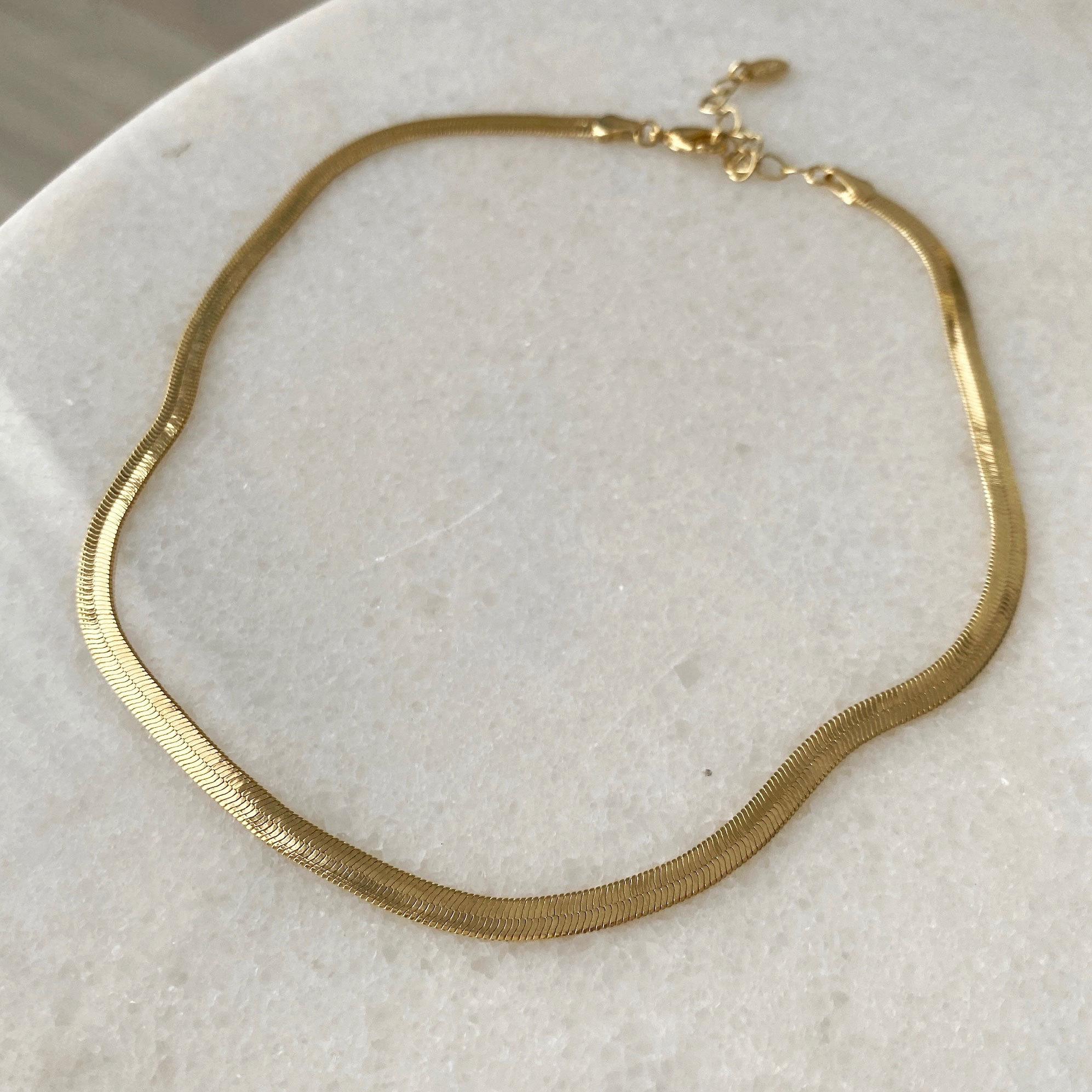 Колье-цепь снэйк-плетения (золотистый)