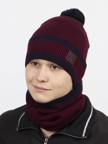 Комплект шапка и снуд, бордовый цвет