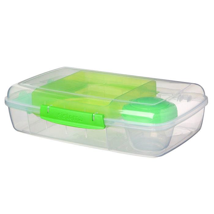 """Ланч-бокс с баночкой Sistema """"Bento TO GO"""", многосекционный, 1,76 л, цвет Зеленый"""