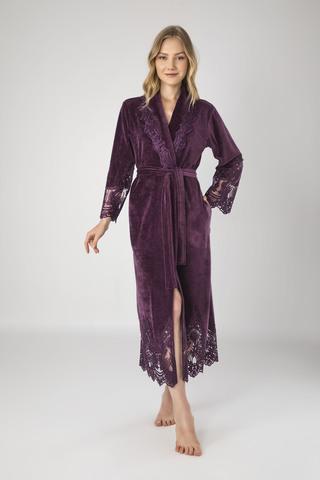 Халат женский велюровый с кружевом Kleopatra 0383 фиолетовый NUSA Турция