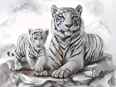 Алмазная Мозаика 5D 40x50 Белая тигрица и тигренок (арт. LT0360)