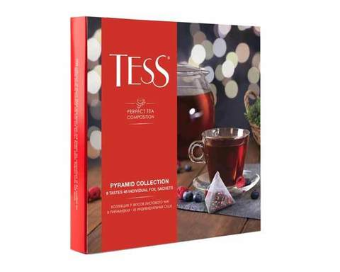 Коллекция 9 вкусов листового чая Tess в пирамидках, 45 пак/уп