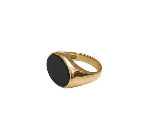 Кольцо с черным агатом в позолоте
