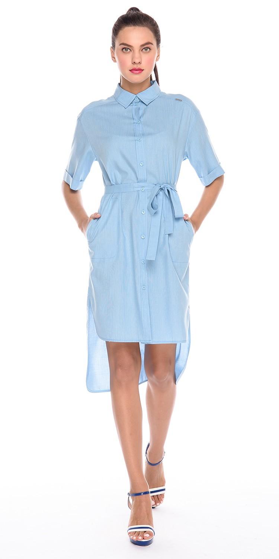 Платье З201-575 - Стильное платье-рубашка нежного голубого цвета. Платье подчеркнет гармоничность линий любой фигуры и станет отличным пополнением летнего базового гардероба. Платье имеет удобную застежку, пояс в тон и асимметричный подол. Состав: вискоза 70%, акрил 30%.