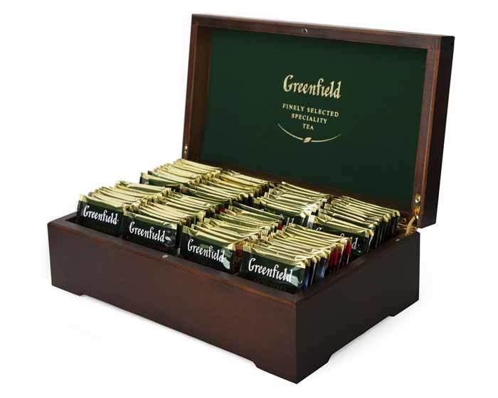 Подарочный набор чая Greenfield из 8 видов в деревянной шкатулке, 96 пак/уп