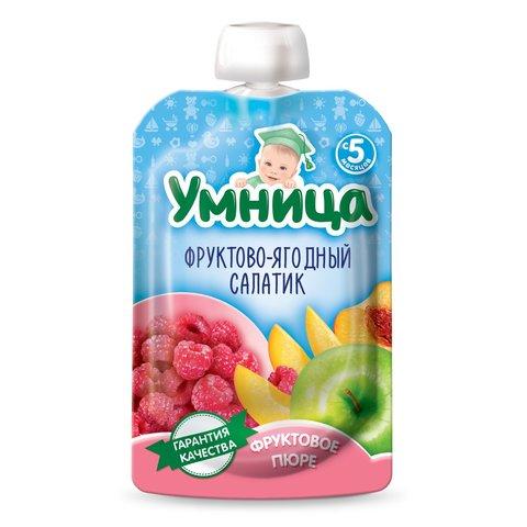 Пюре Умница яблоко, малина, персик пауч 100 гр. (5+ мес.)