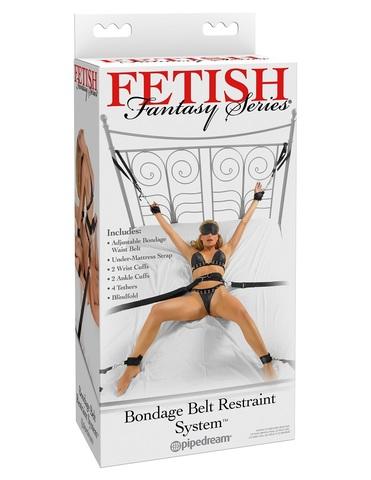 Набор для бондажа Bondage Belt Restraint System: ремень с резинкой под кровать+наручники+наножники на металл.кольцах