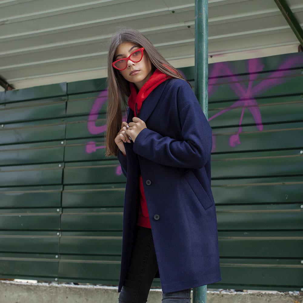 Підліткове кашемірове пальто синього кольору на дівчинку