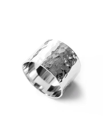 Серебряное битое широкое кольцо 14мм
