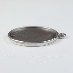 Сеттинг - основа - подвеска для камеи или кабошона 27 мм (цвет - античное серебро)